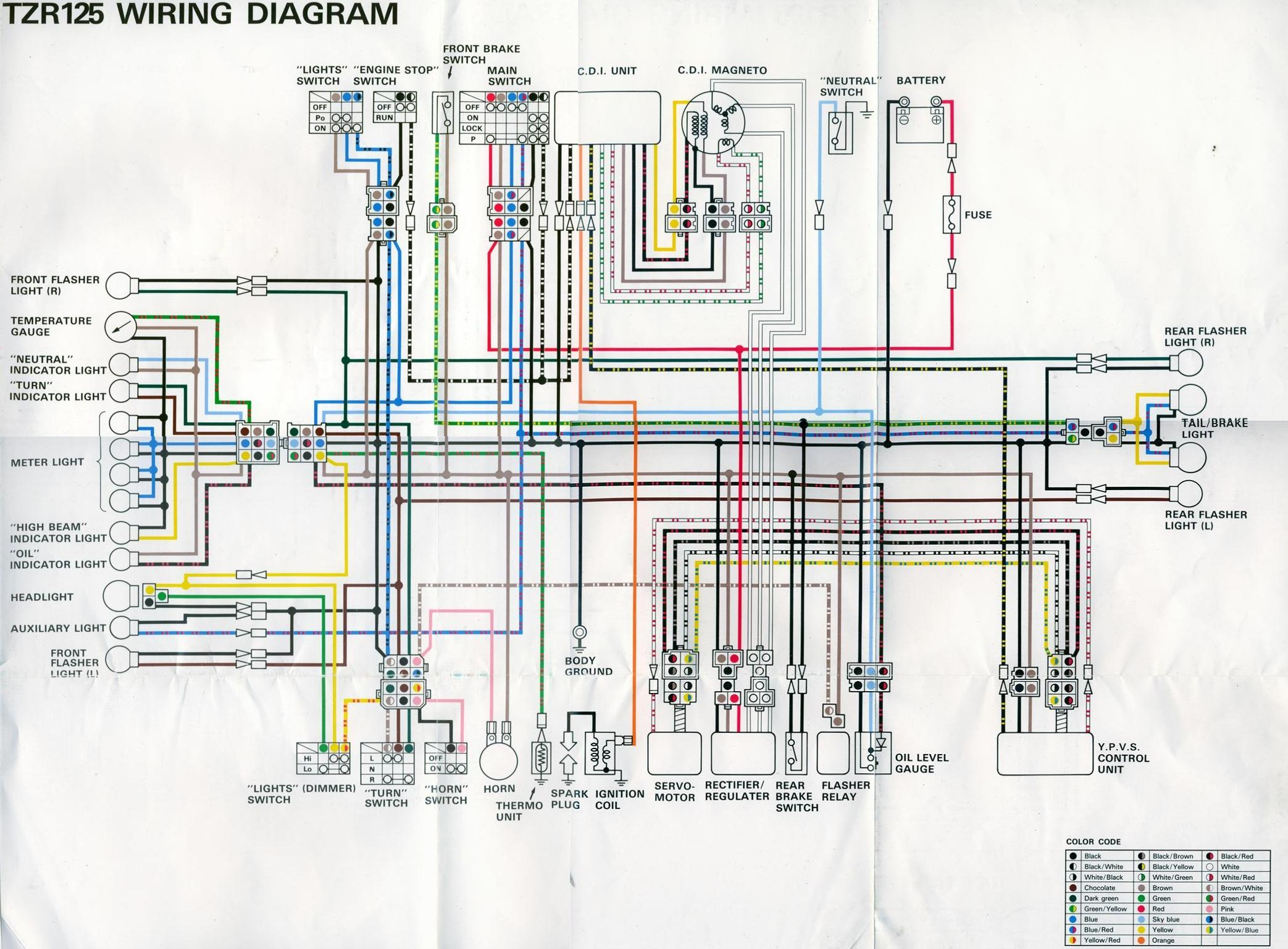 TZR125 Wiring Diagram 1 zongshen 125cc scooter wiring diagram best wiring library